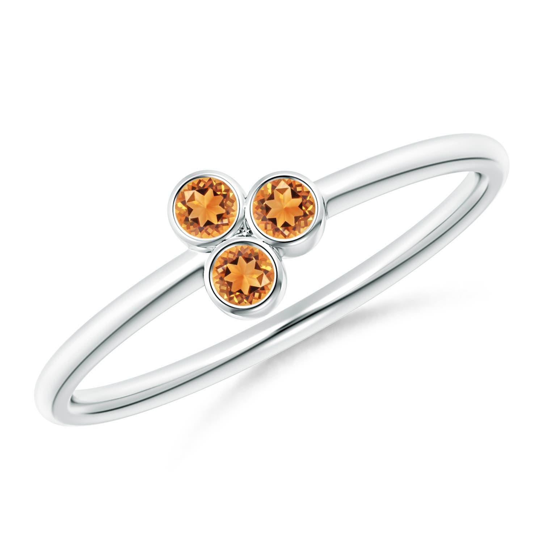 Bezel Set Citrine Trio Cluster Stackable Ring | Angara