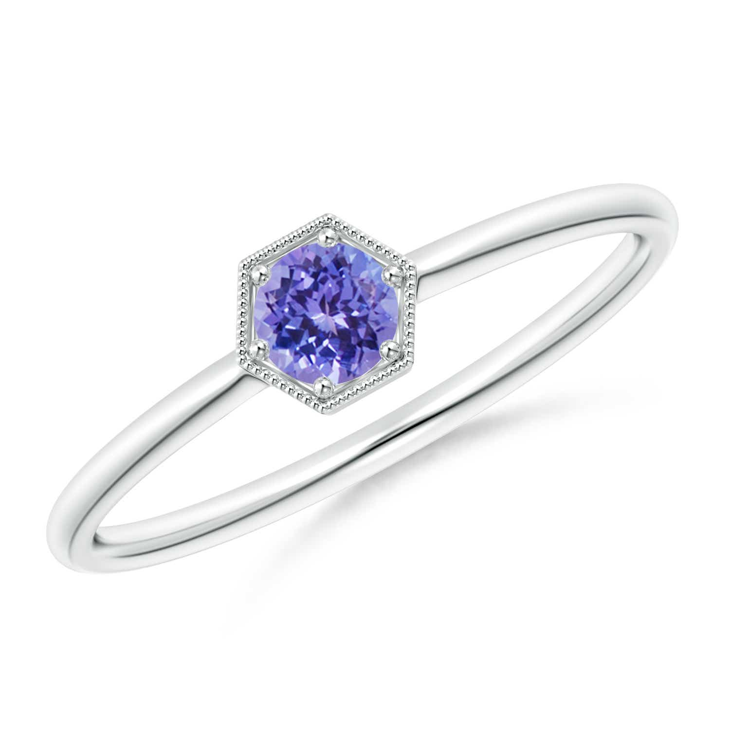 Pave Set Tanzanite Hexagon Solitaire Ring with Milgrain 14K White