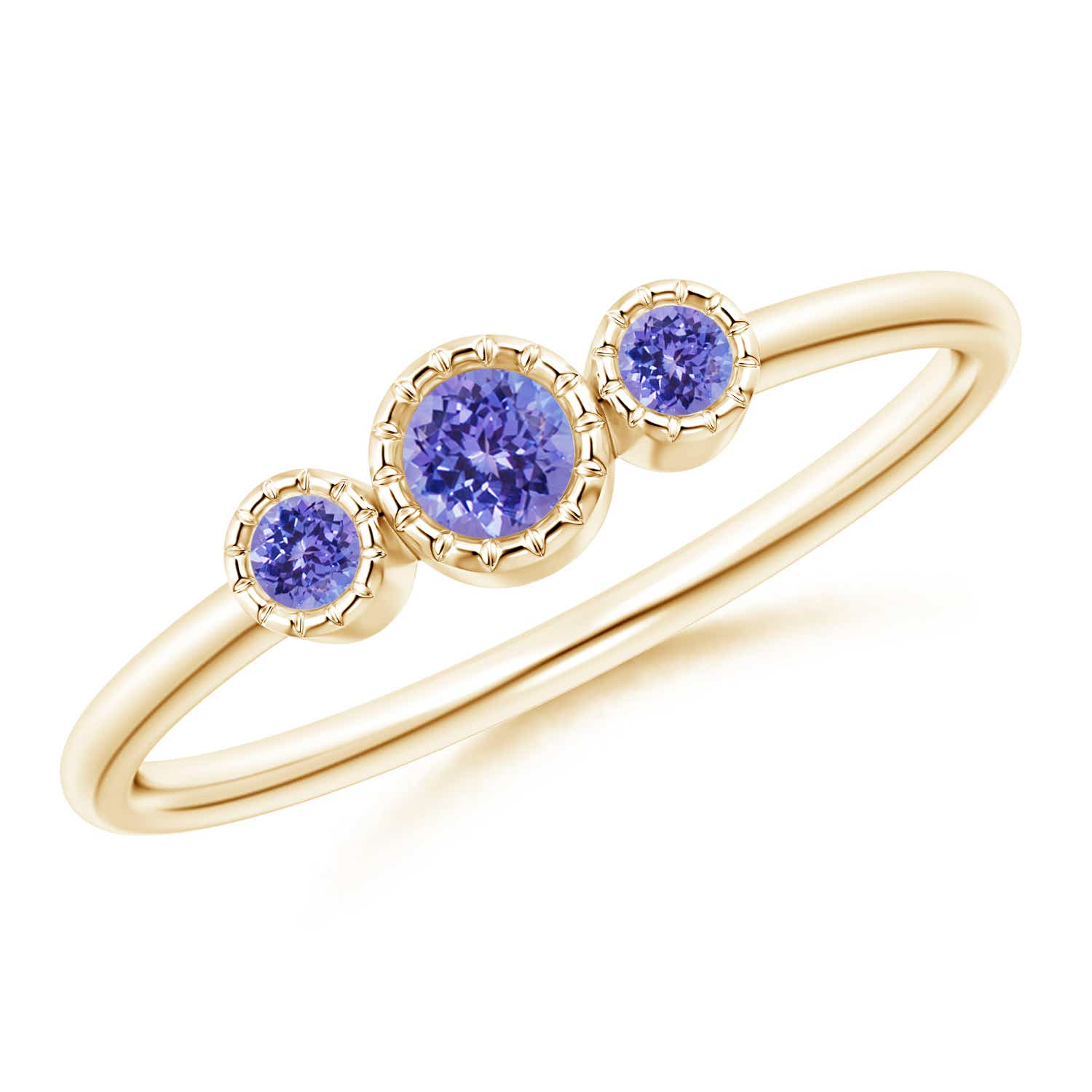 Angara Tanzanite Diamond 3-Stone Engagement Ring in 14k White Gold RNBGf