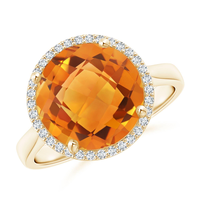 round citrine cocktail ring with diamond halo angara