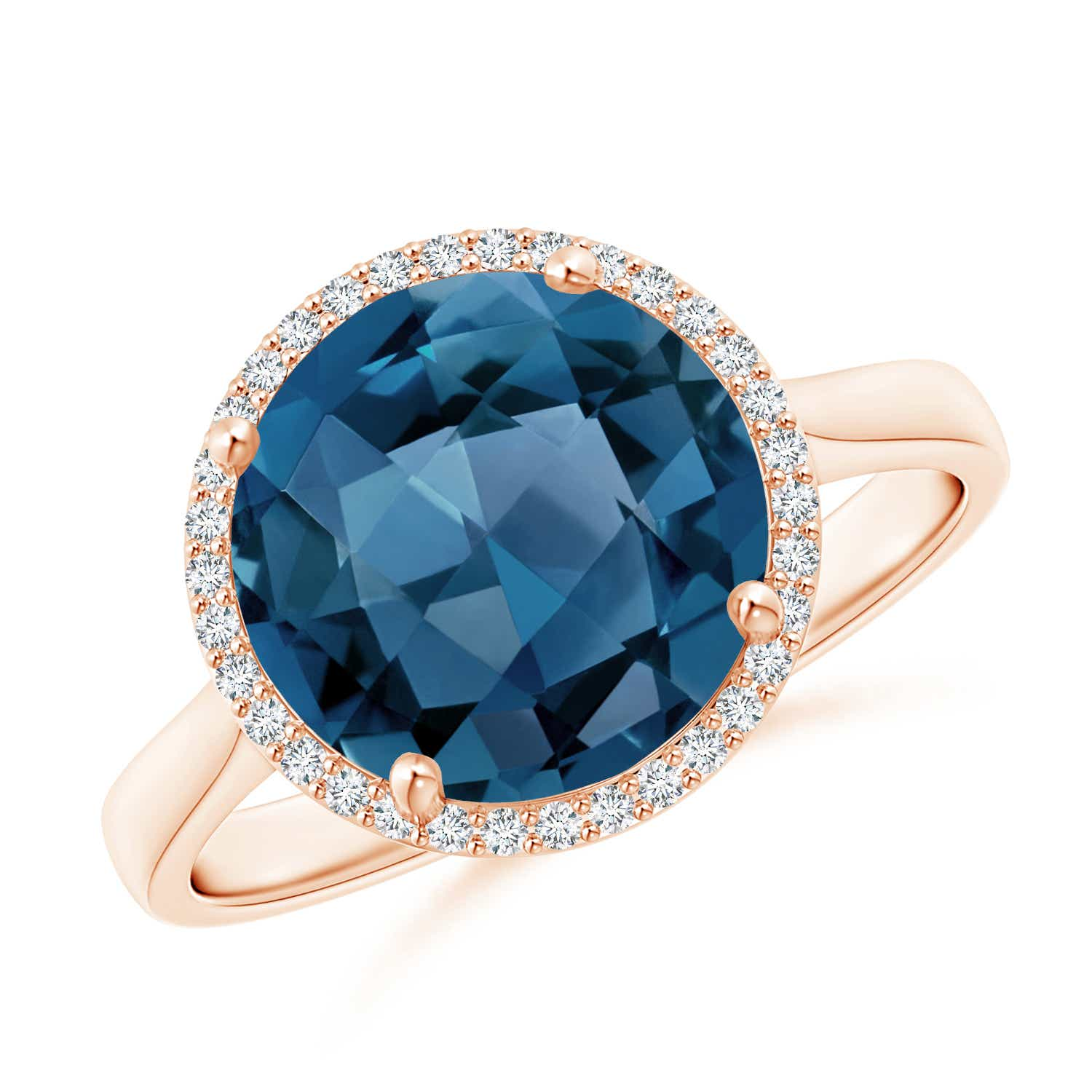 Angara Cocktail Ring with Natural London Blue Topaz in White Gold JmHX7Qn