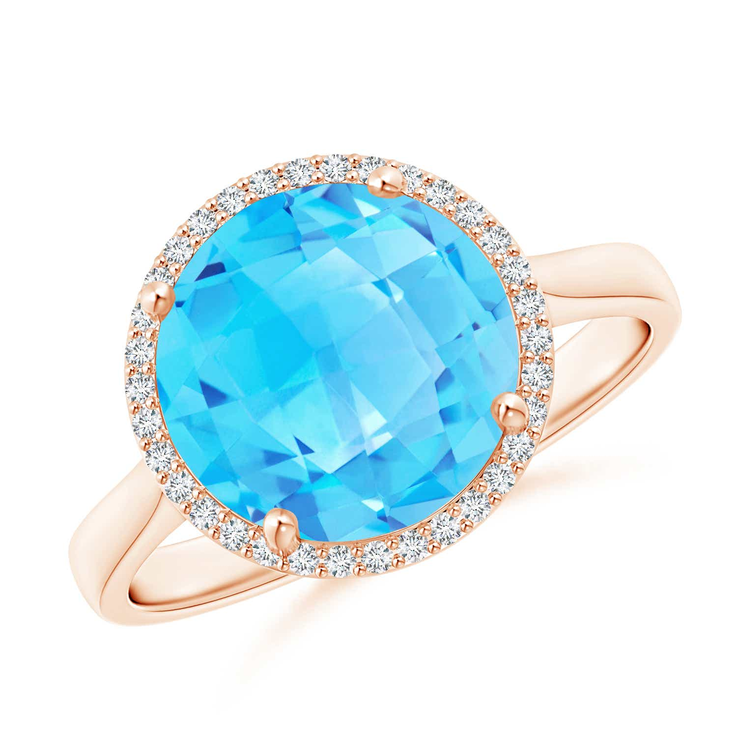 Angara Pear-Shaped Swiss Blue Topaz Cocktail Ring with Diamond Halo
