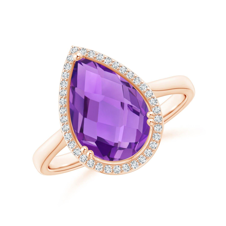 Angara Amethyst Cocktail Ring with Diamond Halo pdewueQkyg