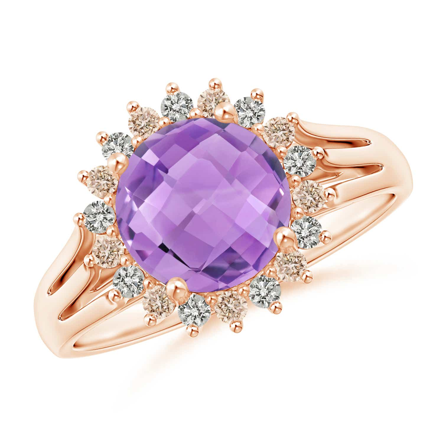Round Amethyst Triple Split Shank Ring with Alternating Halo