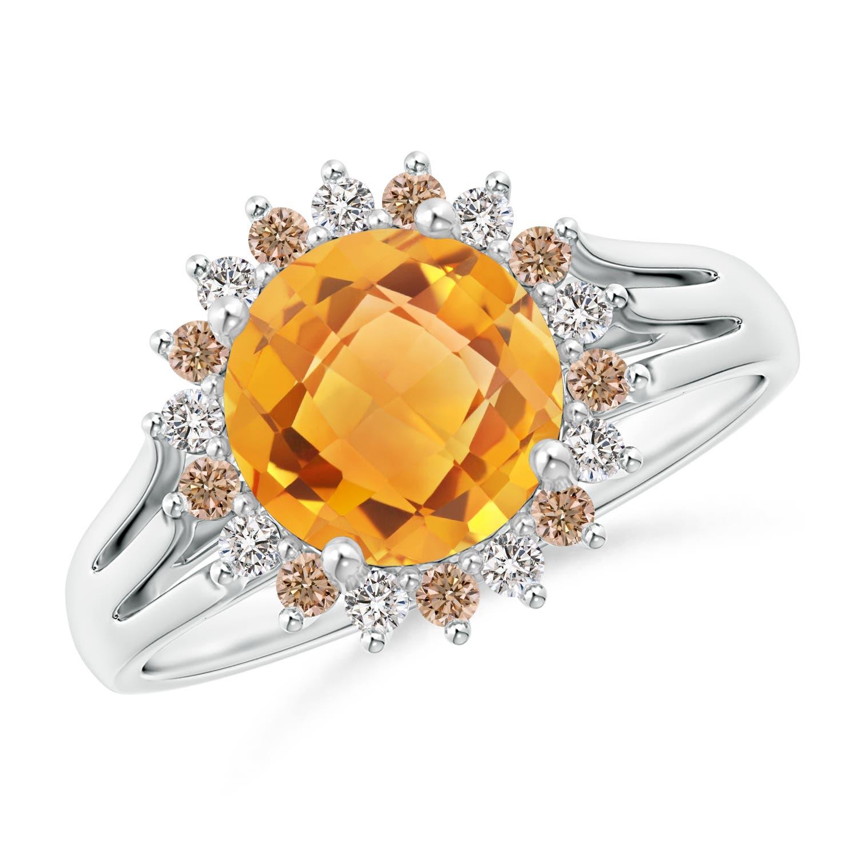 Angara Split Shank Round Citrine Halo Ring in 14K Yellow Gold Setting getsH08