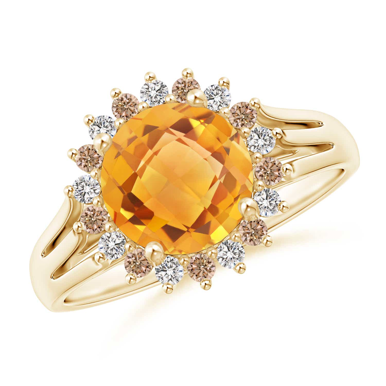 Angara Round Citrine Split Shank Ring with Diamond Halo in 14K Yellow Gold 3oJlCpXO