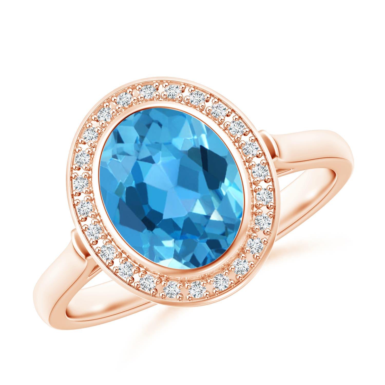 Bezel Set Oval Swiss Blue Topaz Ring with Diamond Halo - Angara.com