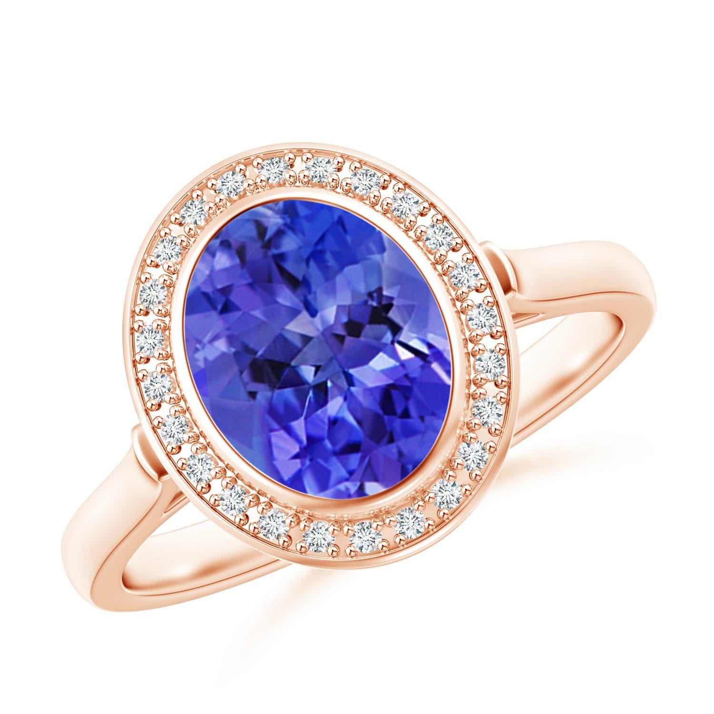 Angara Natural Tanzanite and Diamond Halo Ring in White Gold QC4L58mgW2