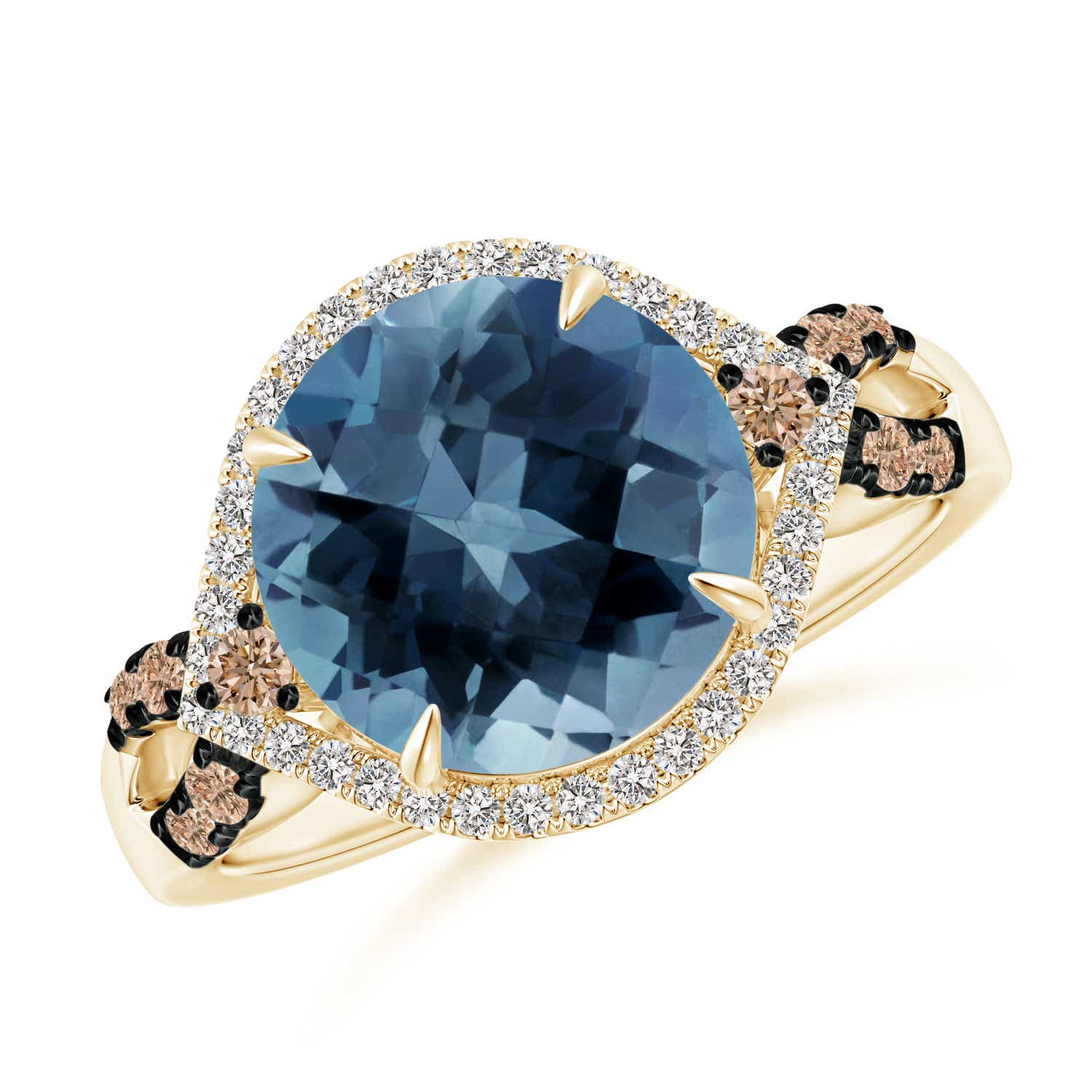Angara London Blue Topaz Cocktail Ring with Coffee Diamond Accents 1eVKMDLn
