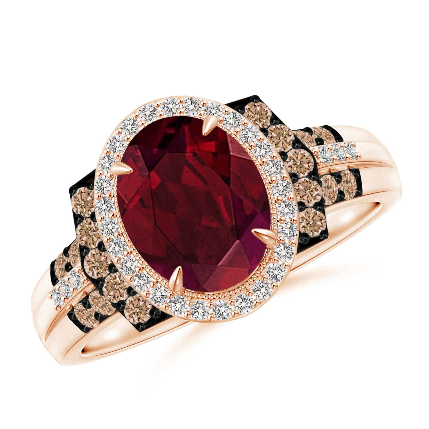 Angara Vintage Diamond Floral Halo Oval Garnet Cocktail Ring hqPVje
