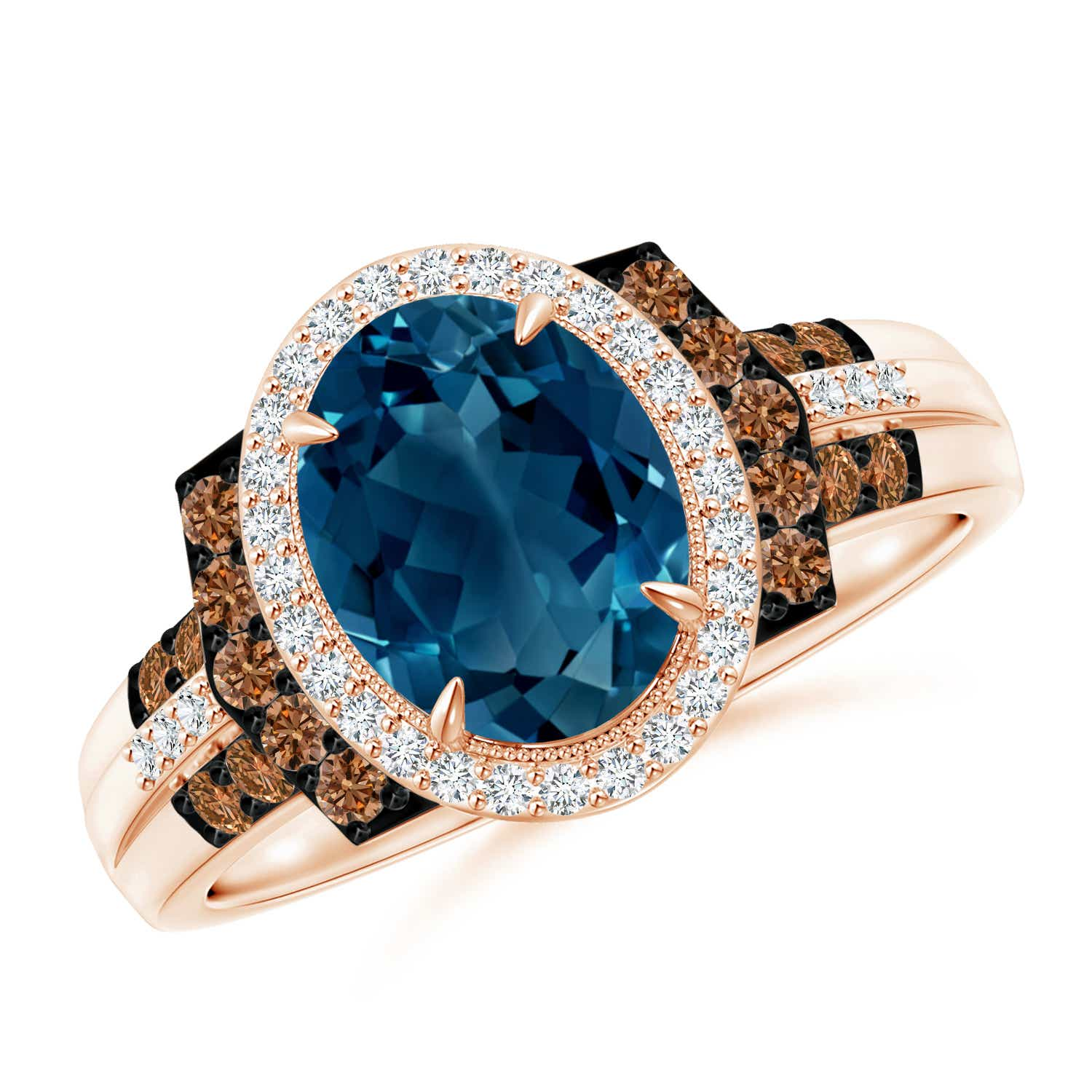 Vintage Style London Blue Topaz Halo Cocktail Ring - Angara.com