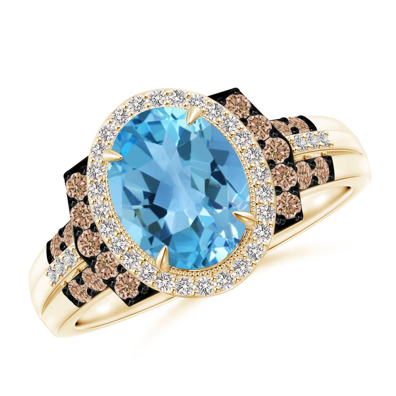 Angara Vintage Swiss Blue Topaz Cocktail Ring in Platinum J3sKYzdGZ