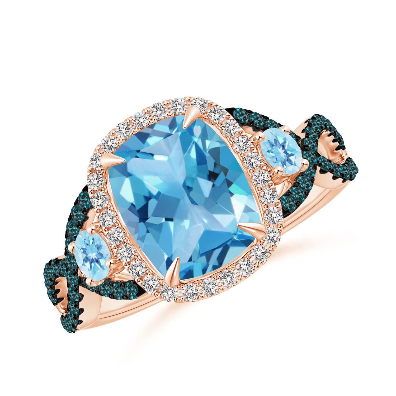 Angara Cushion London Blue Topaz Crossover Ring with Diamond Halo Hsuog2zJ