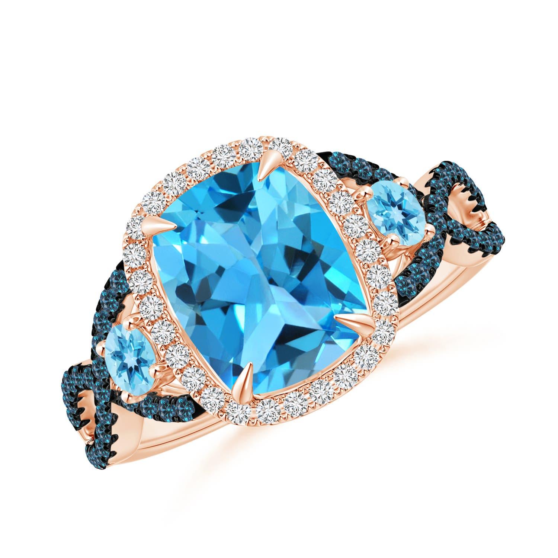 Cushion Swiss Blue Topaz Crossover Ring with Diamond Halo - Angara.com
