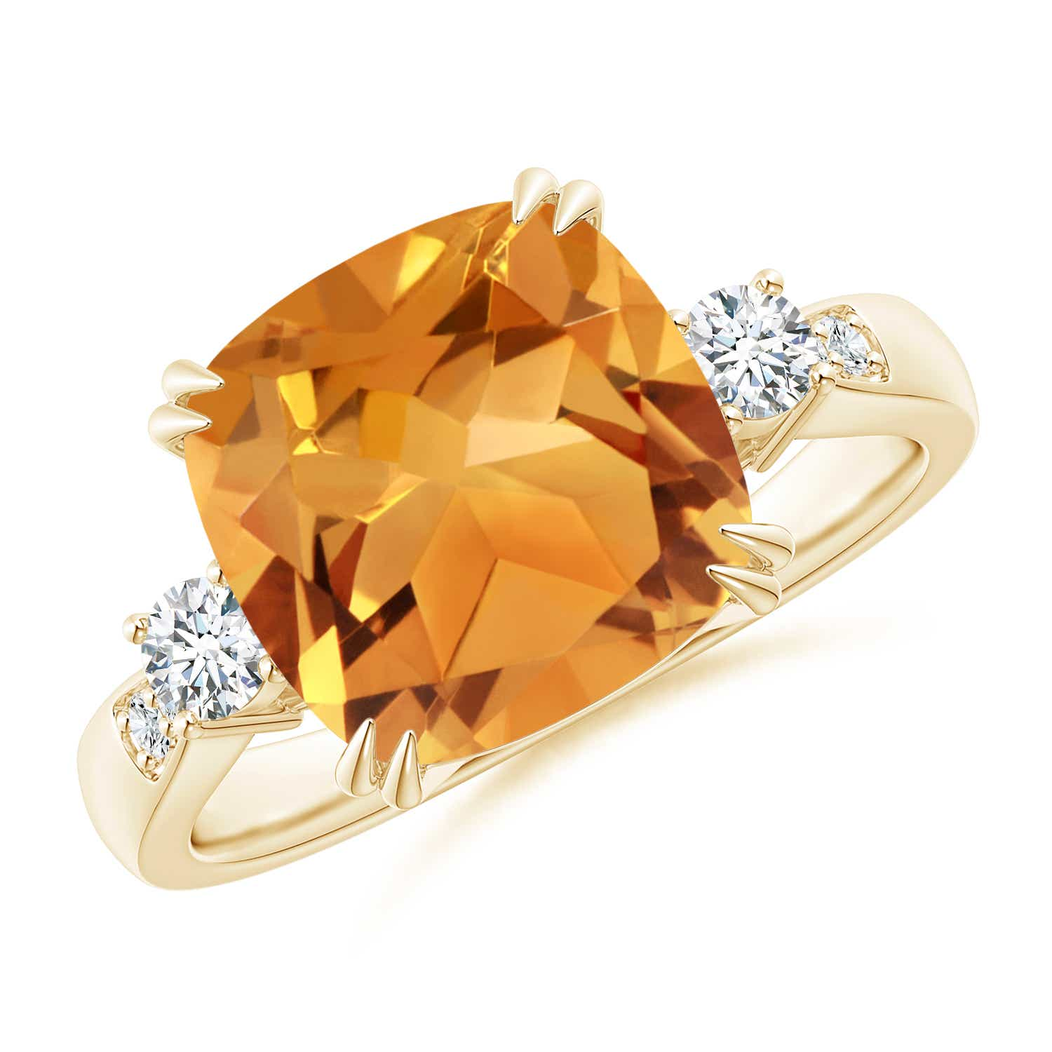 Angara Double Prong-Set Cushion Citrine Cocktail Ring in White Gold