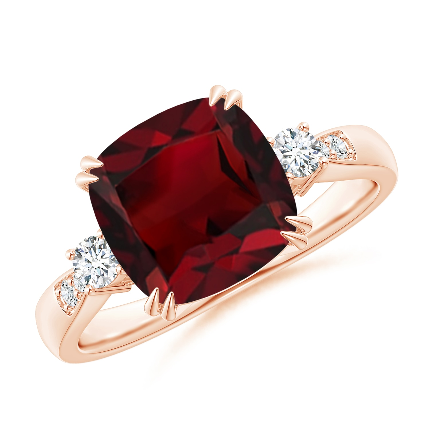 Angara Split Shank Vintage Garnet Ring in Rose Gold m5NNgWlSlm