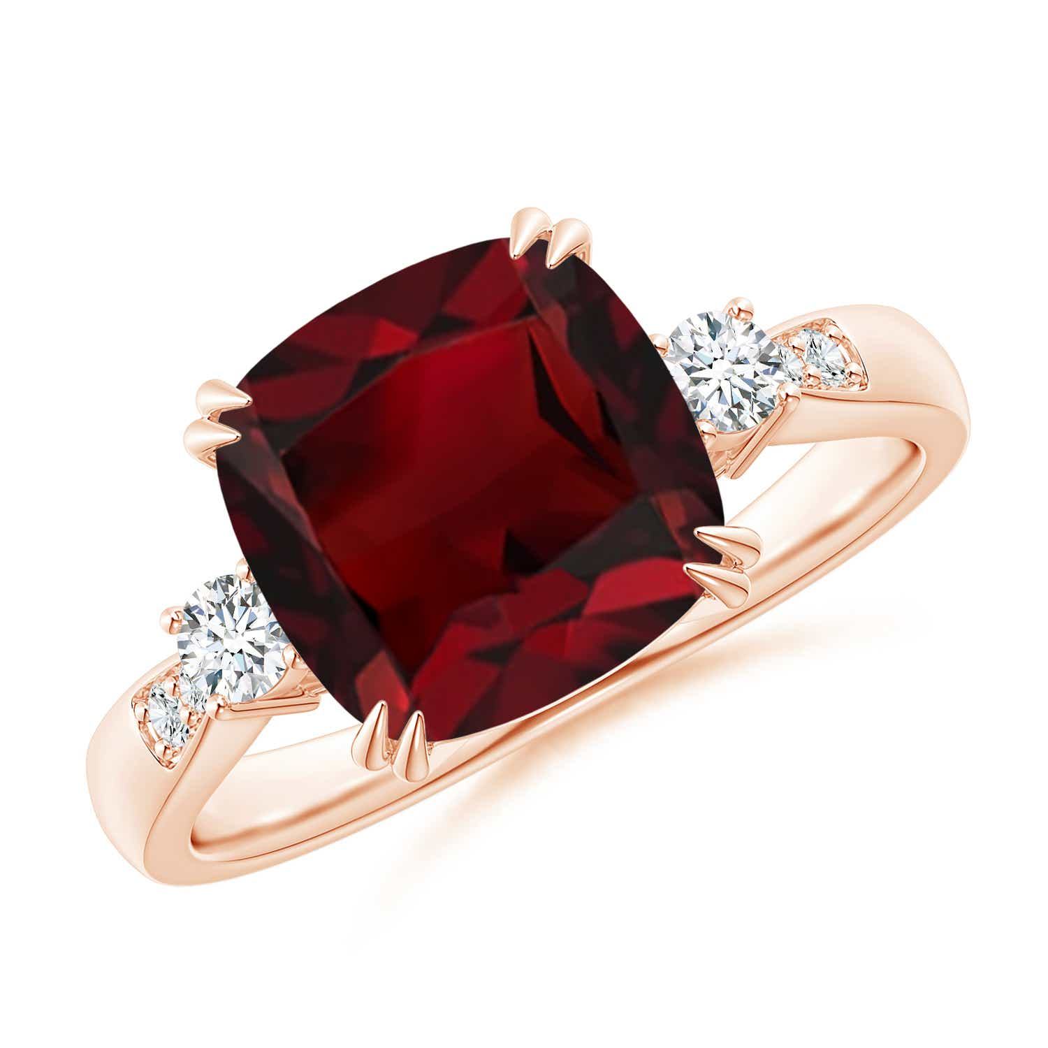 Angara Garnet Solitaire Ring with Diamond in Rose Gold 3ENsvF