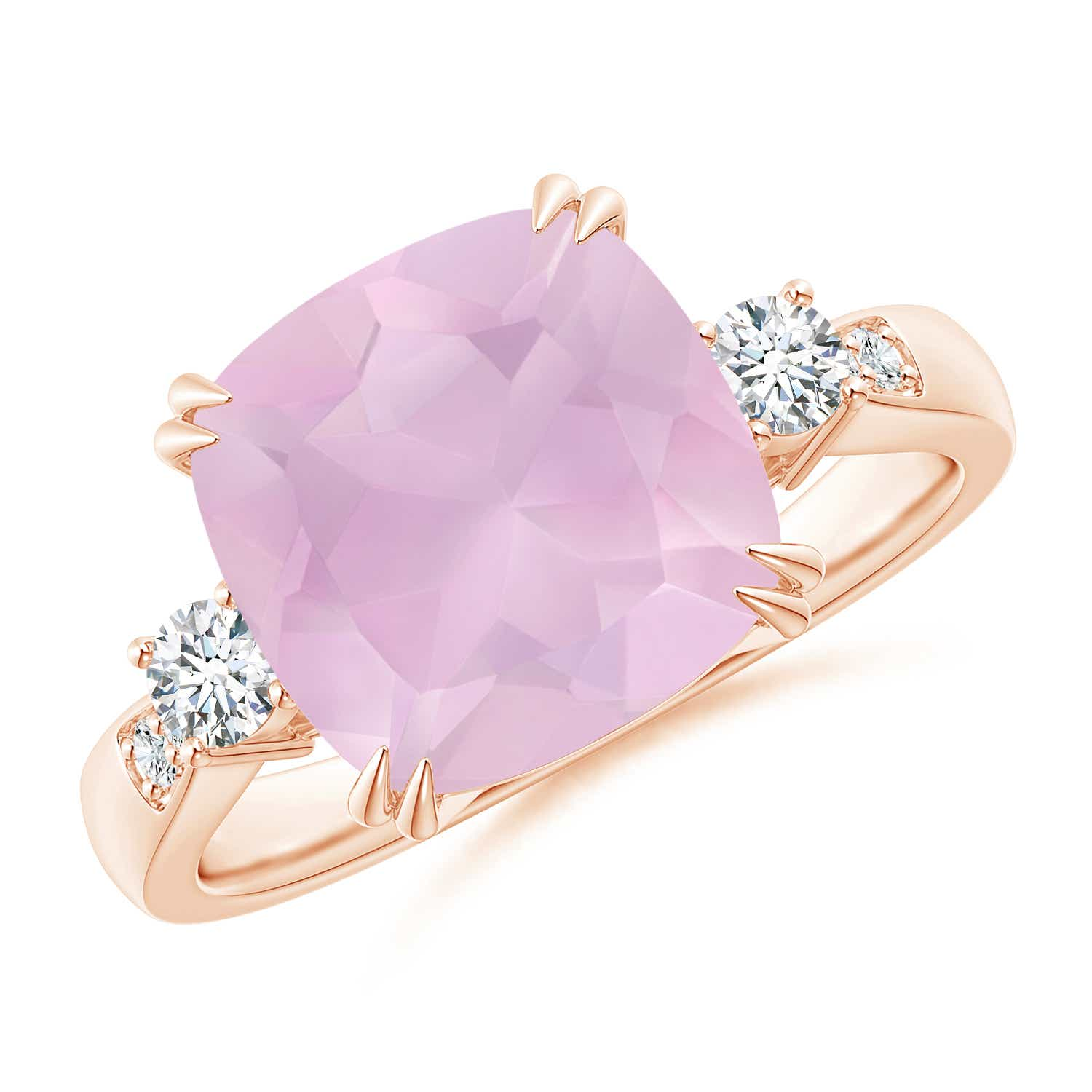 Cushion Rose Quartz Solitaire Ring with Diamond Accents | Angara