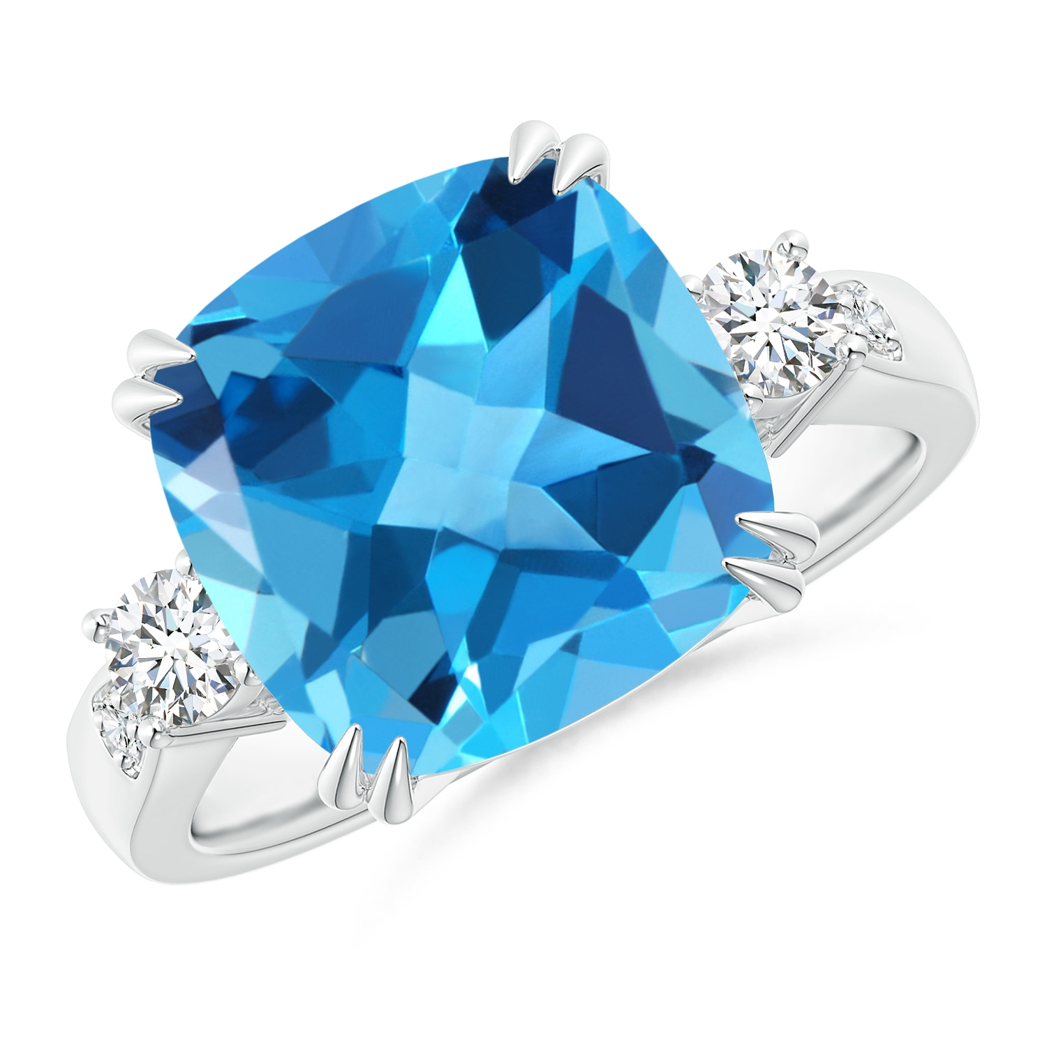 Cushion Swiss Blue Topaz Solitaire Ring with Diamond Accents - Angara.com