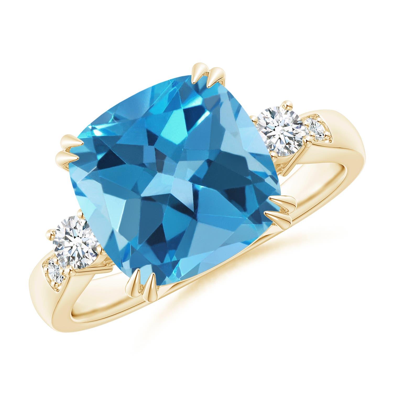 Angara Cushion Swiss Blue Topaz and Diamond Ring in Rose Gold UIJWhknSvu