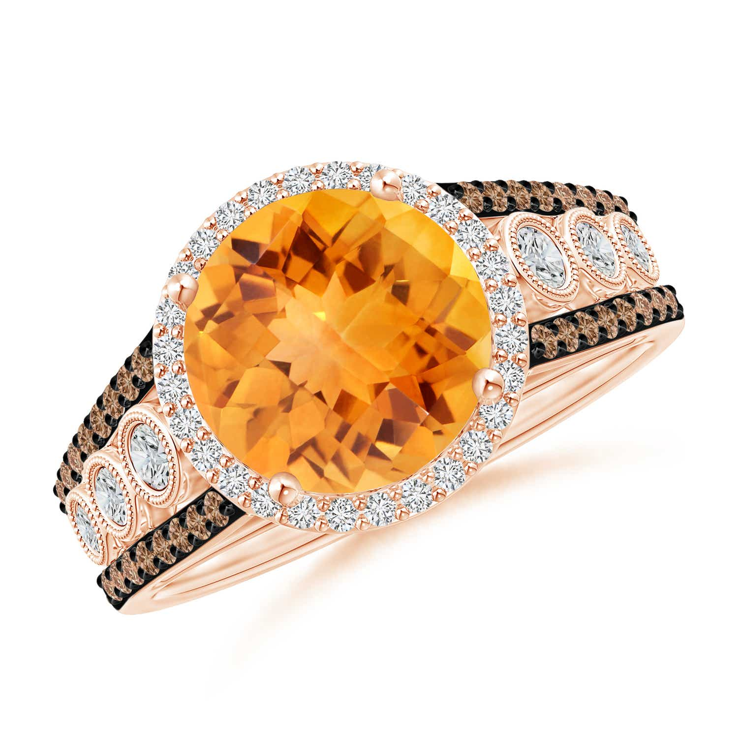 Round Citrine Halo Regal Ring with Diamond Accents - Angara.com
