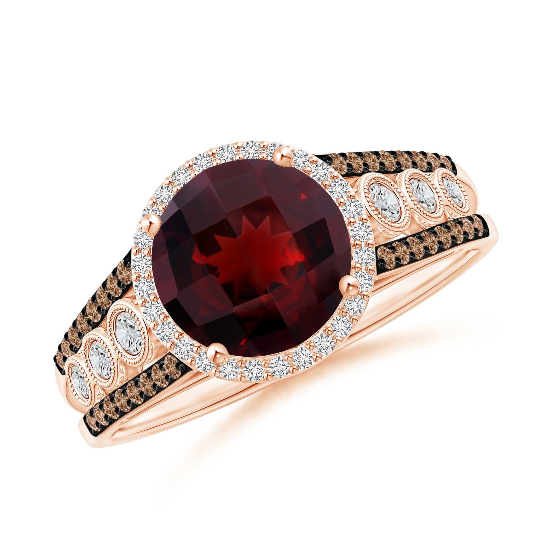 Round Garnet Halo Regal Ring with Diamond Accents - Angara.com