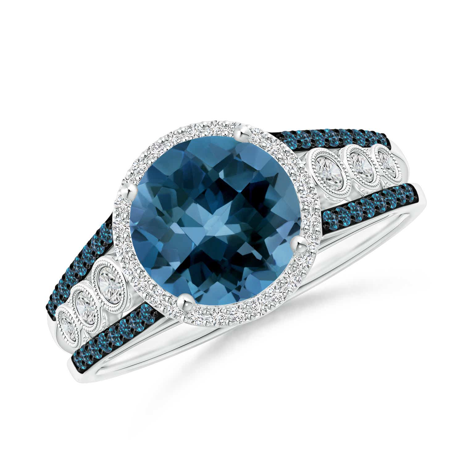 Round London Blue Topaz Halo Regal Ring with Diamond Accents - Angara.com