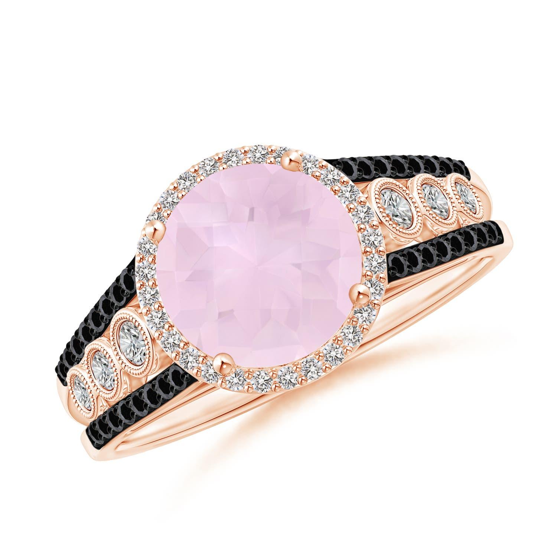 Angara Round Rose Quartz Halo Regal Ring with Diamond Accents k0zDAx1D