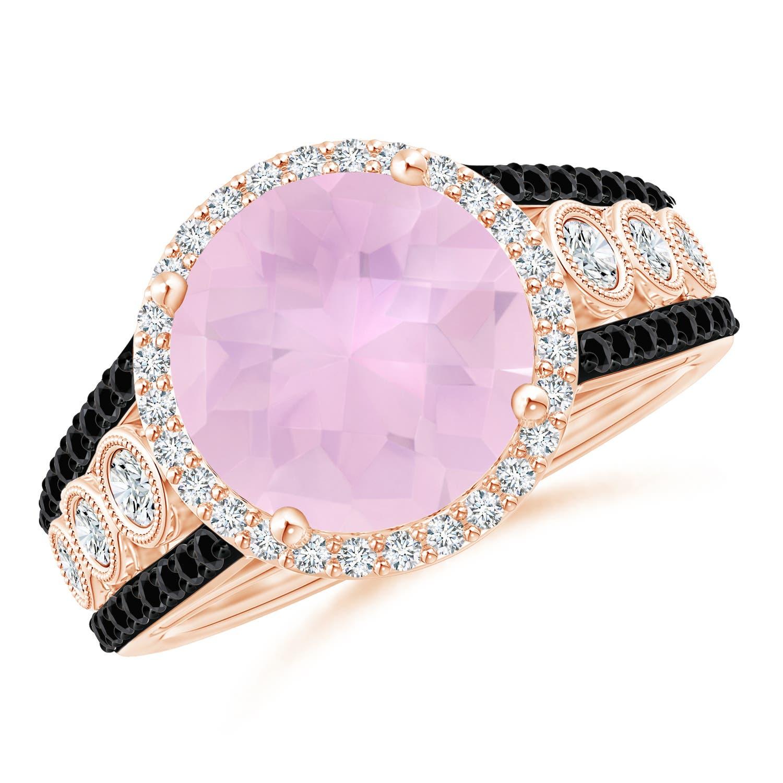 4.2ct Natural Rose Quartz Diamond Halo Regal Ring 14K Yellow Gold ...