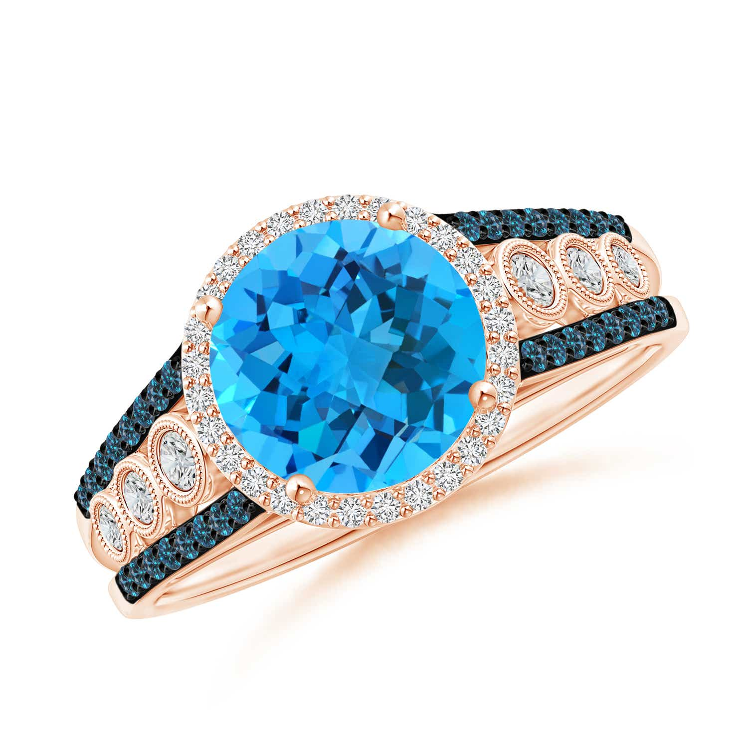 Round Swiss Blue Topaz Halo Regal Ring with Diamond Accents - Angara.com