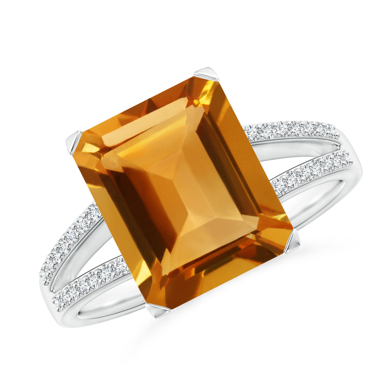 emerald cut citrine diamond cocktail ring 14k white gold