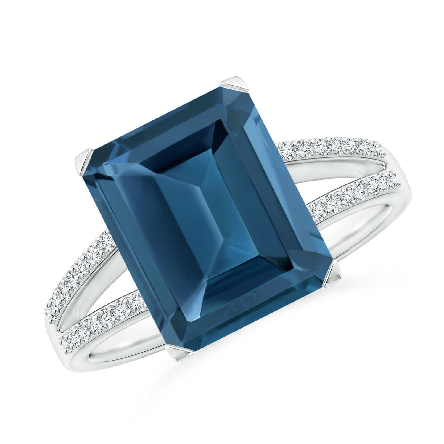 Angara Emerald-Cut London Blue Topaz Diamond Solitaire Ring in Yellow Gold rMv0zDV