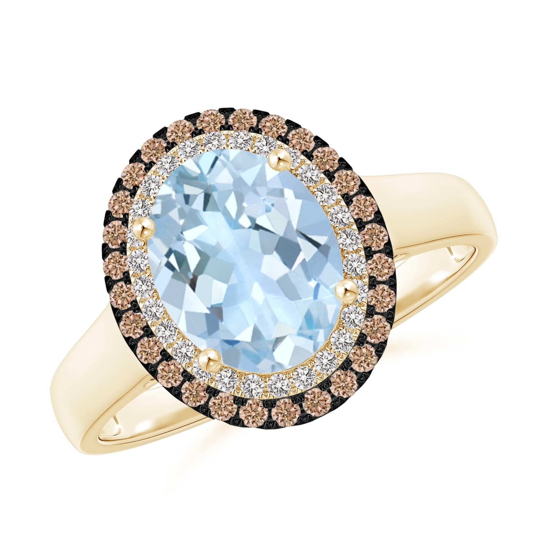 Angara Vintage Style Double Halo Oval Aquamarine Ring 9Lkn987Q