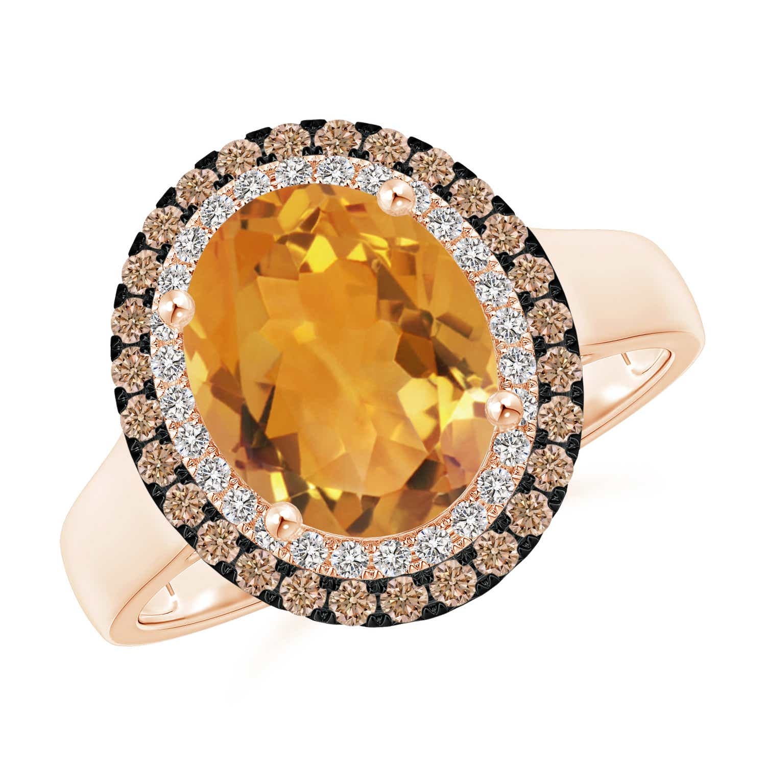 Angara Oval Citrine Solitaire Ring with Pave Diamonds in 14K Rose Gold fyciudf