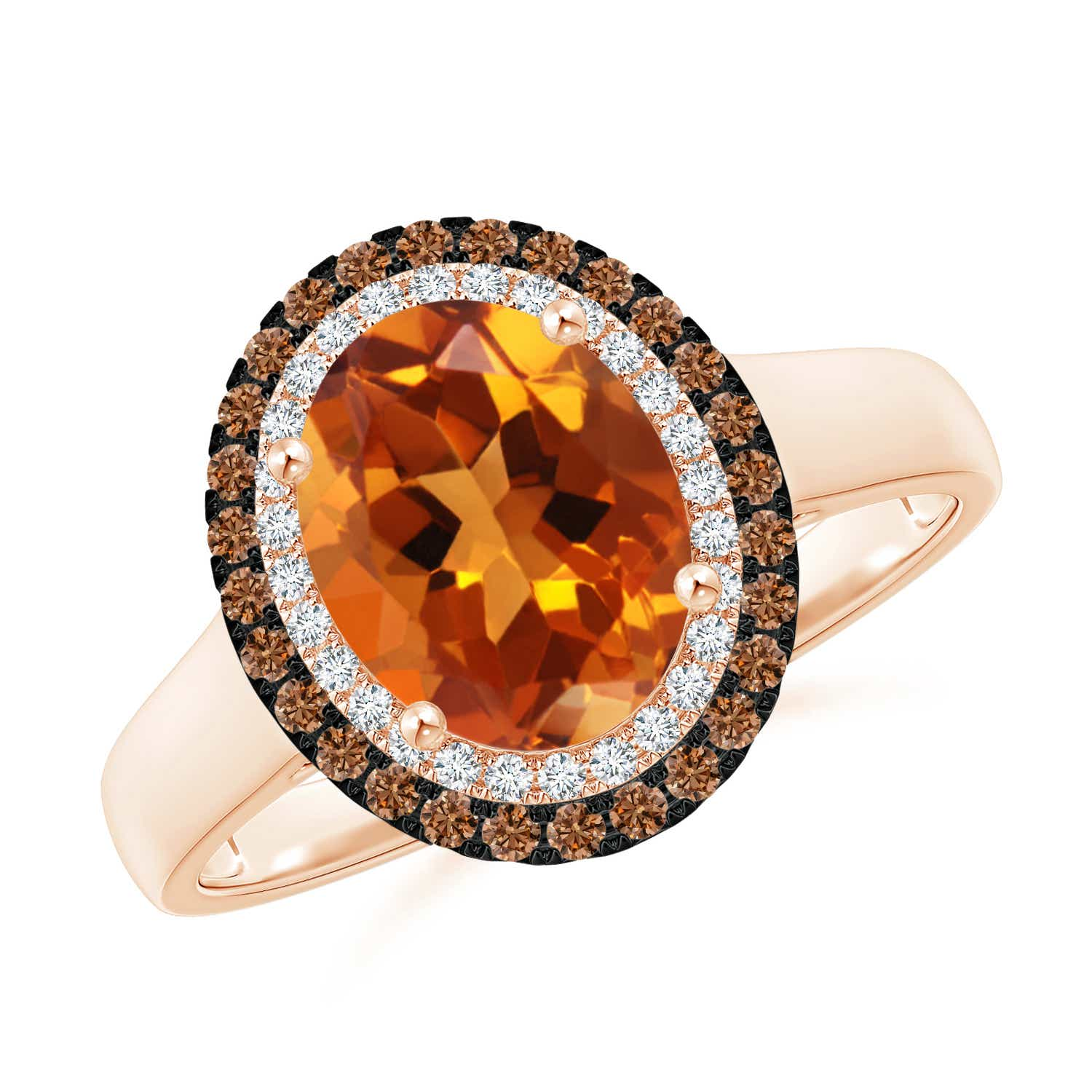 Angara Vintage Diamond Floral Halo Oval Citrine Cocktail Ring in Yellow Gold