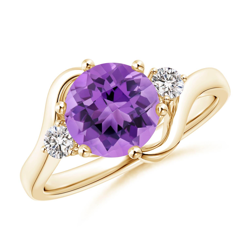 Angara Natural Amethyst and Diamond Three Stone Ring in Rose Gold e77eWU