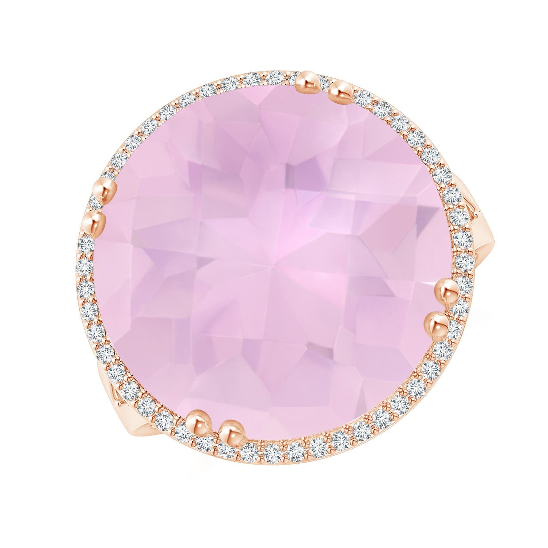 Vintage Rose Quartz Cocktail Ring with Diamond Halo - Angara.com