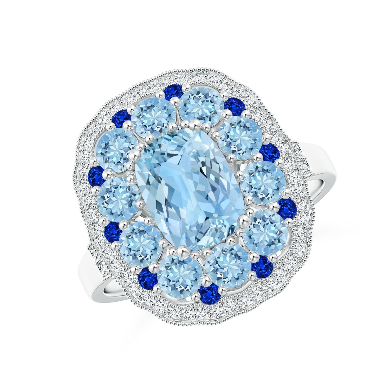 Cushion Aquamarine Cocktail Ring with Milgrain Detailing - Angara.com