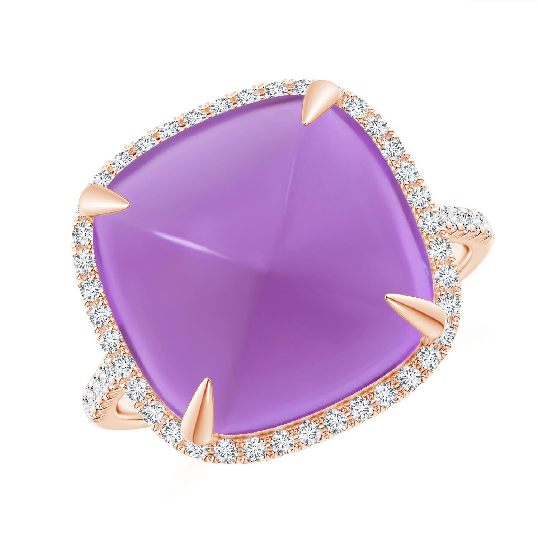 Angara Sugarloaf Cabochon Amethyst Ring with Diamond Halo EGiMM