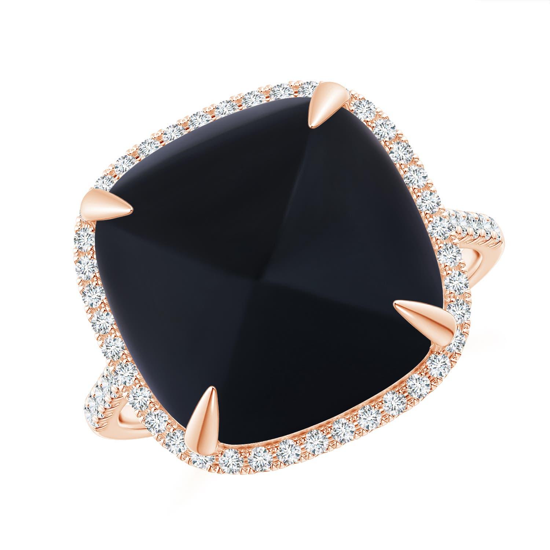 Sugarloaf Cabochon Black Onyx Ring With Diamond Halo Angara