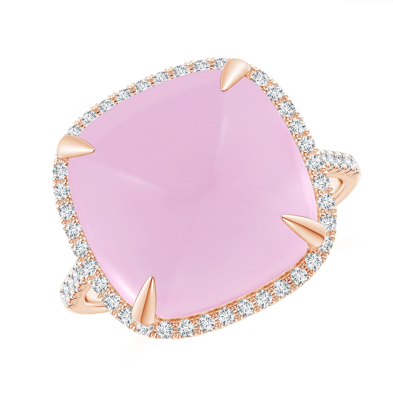 Sugarloaf Cabochon Rose Quartz Ring with Diamond Halo - Angara.com
