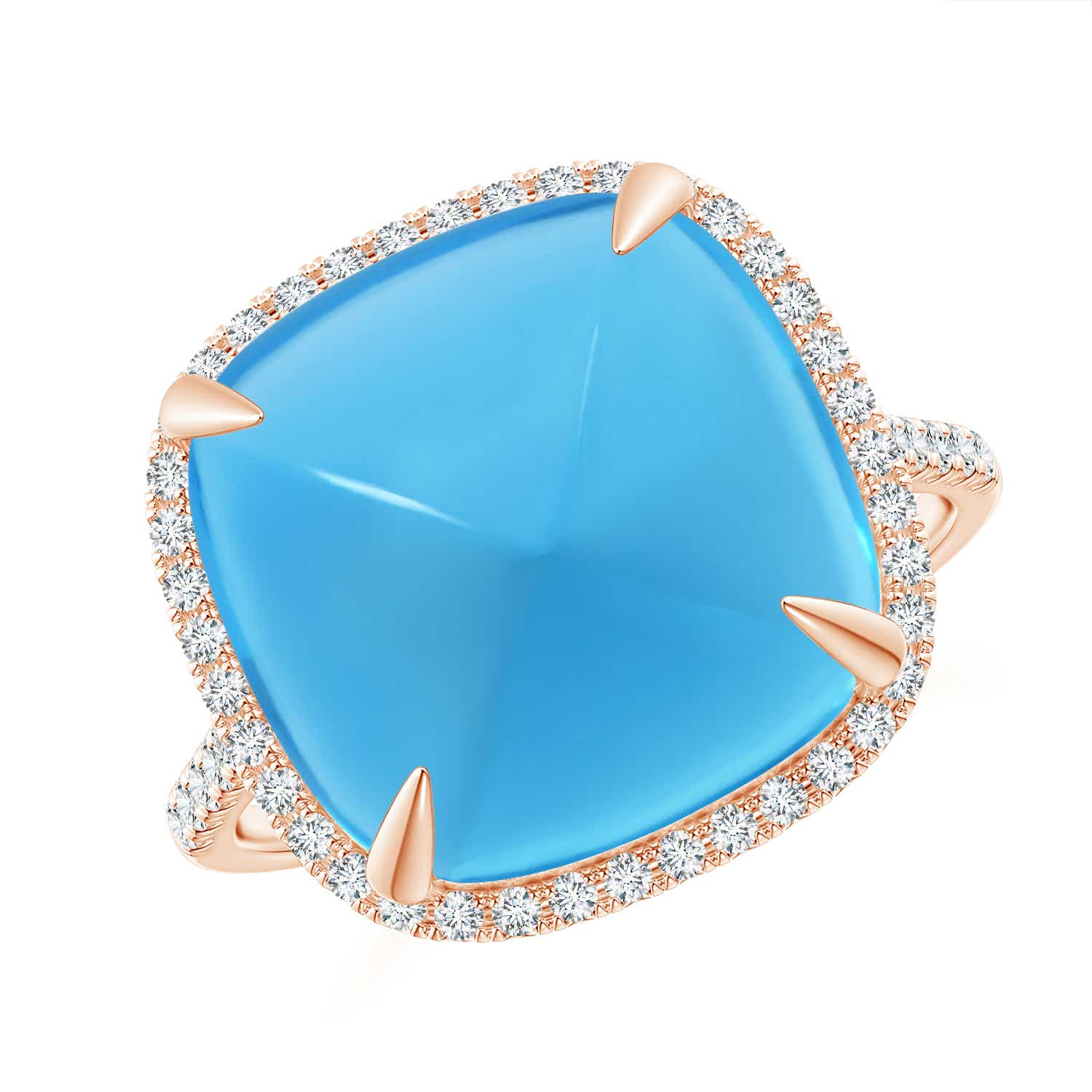 Sugarloaf Cabochon Swiss Blue Topaz Ring with Diamond Halo - Angara.com