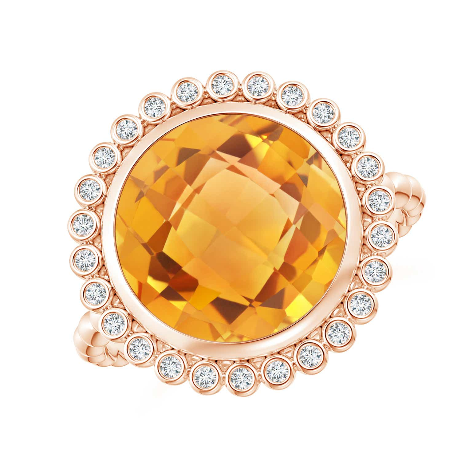 Angara Bezel-Set Round Citrine Ring with Beaded Shank uexsdK