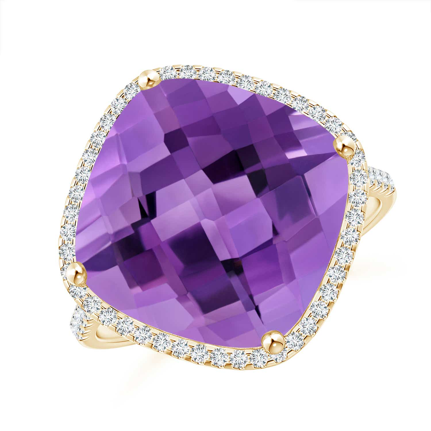 Angara Cushion Amethyst Halo Ring with Clover Motif YBEvV2I0