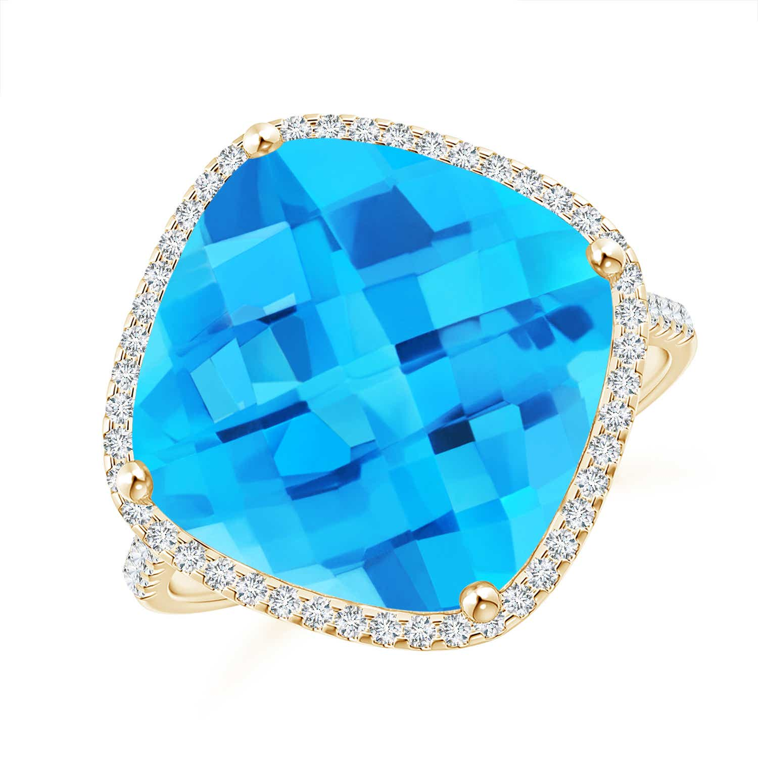 Angara Cushion Swiss Blue Topaz Halo Ring with Clover Motif