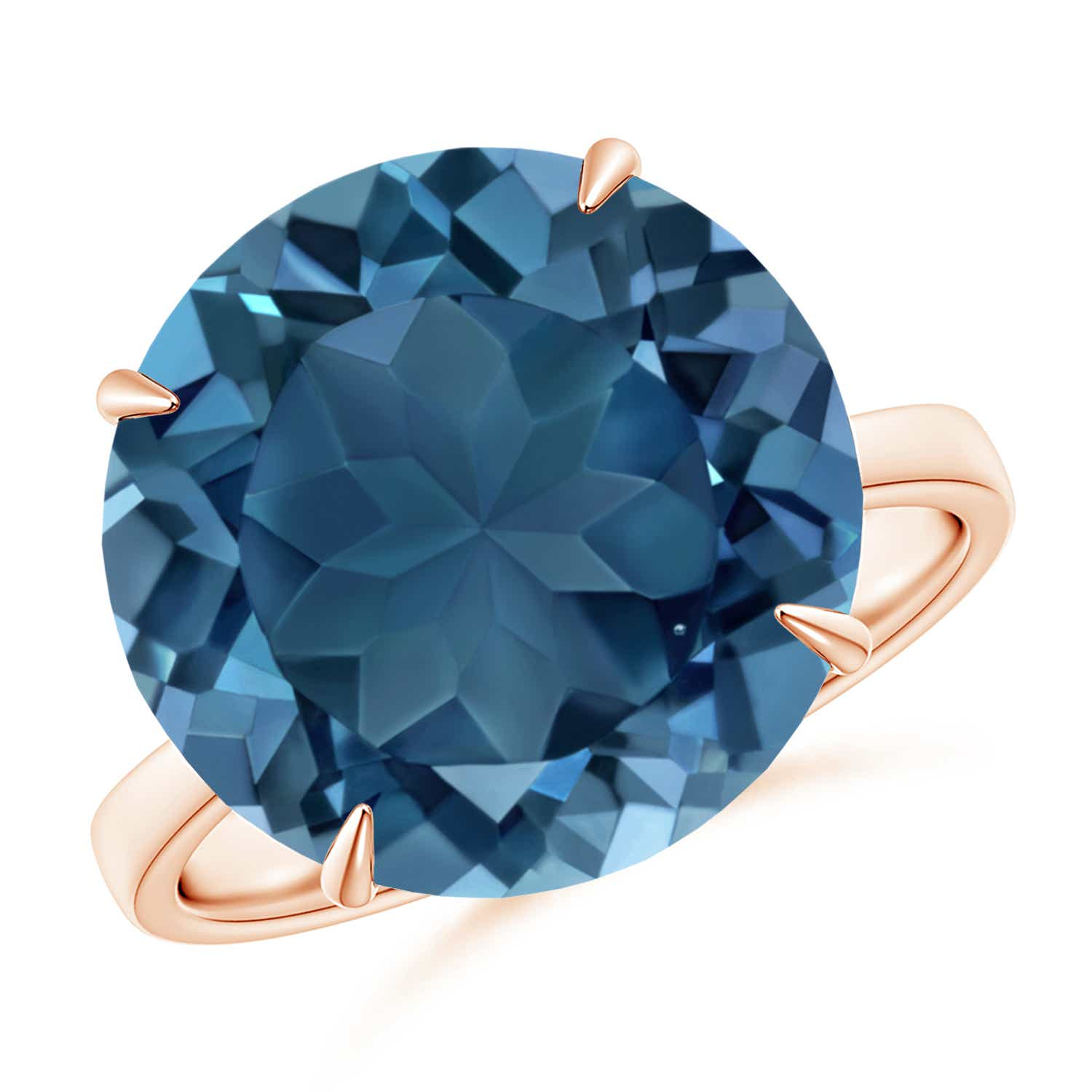 Angara Classic Solitaire Oval London Blue Topaz Cocktail Ring Im9TsB4E