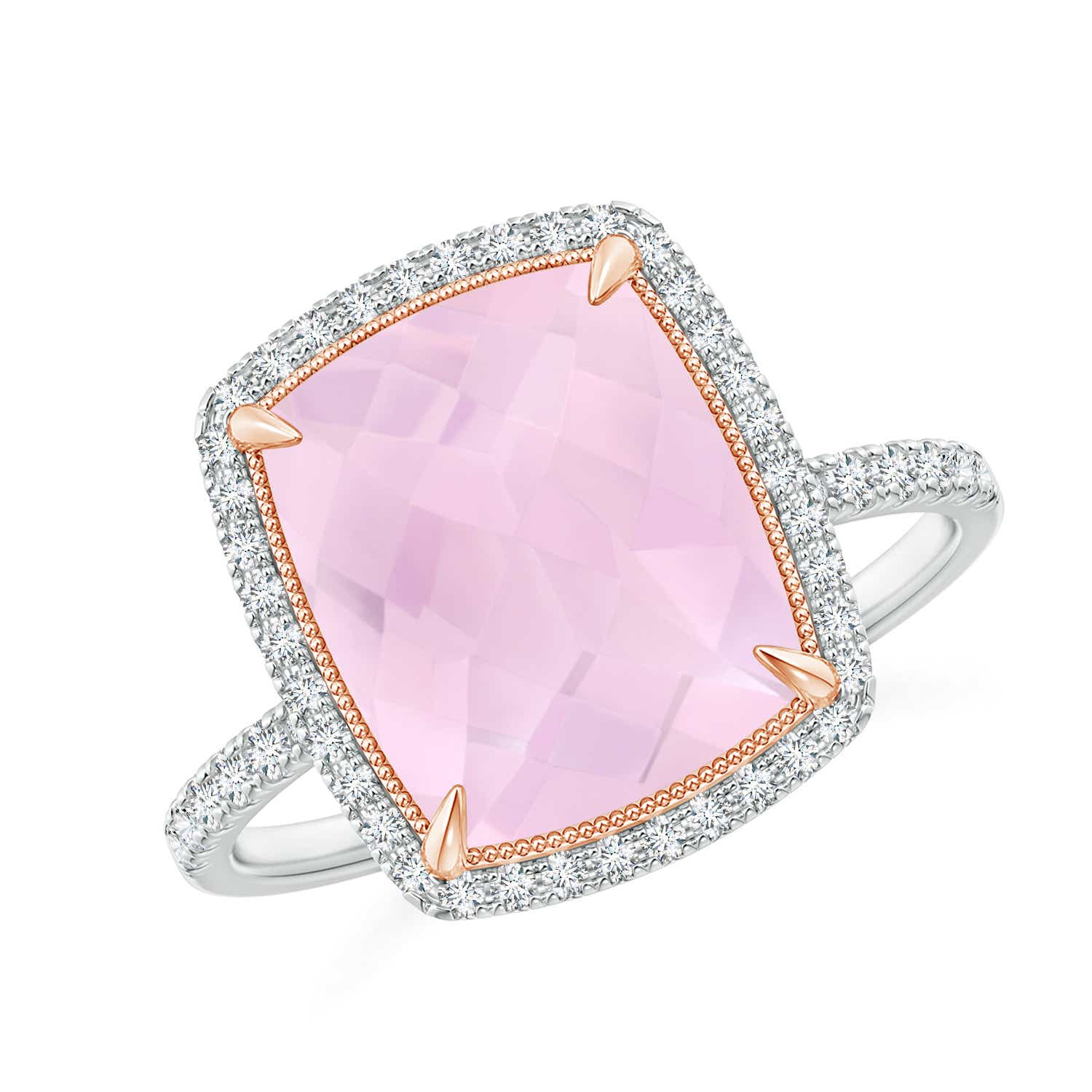 Cushion Rose Quartz and Diamond Halo Ring in Two Tone | Angara
