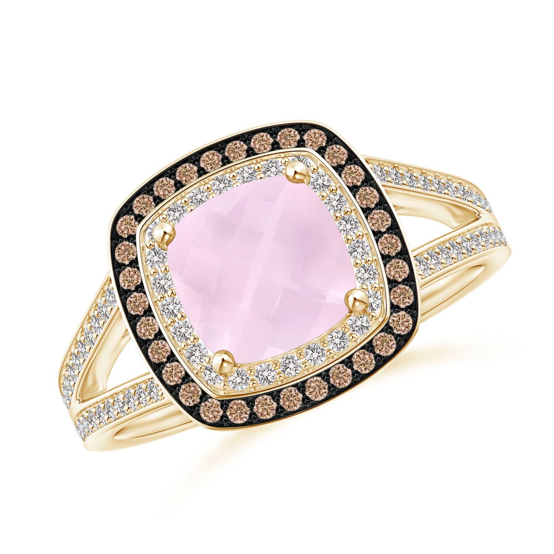 Cushion Natural Rose Quartz Brown Diamond Double Halo Ring | eBay