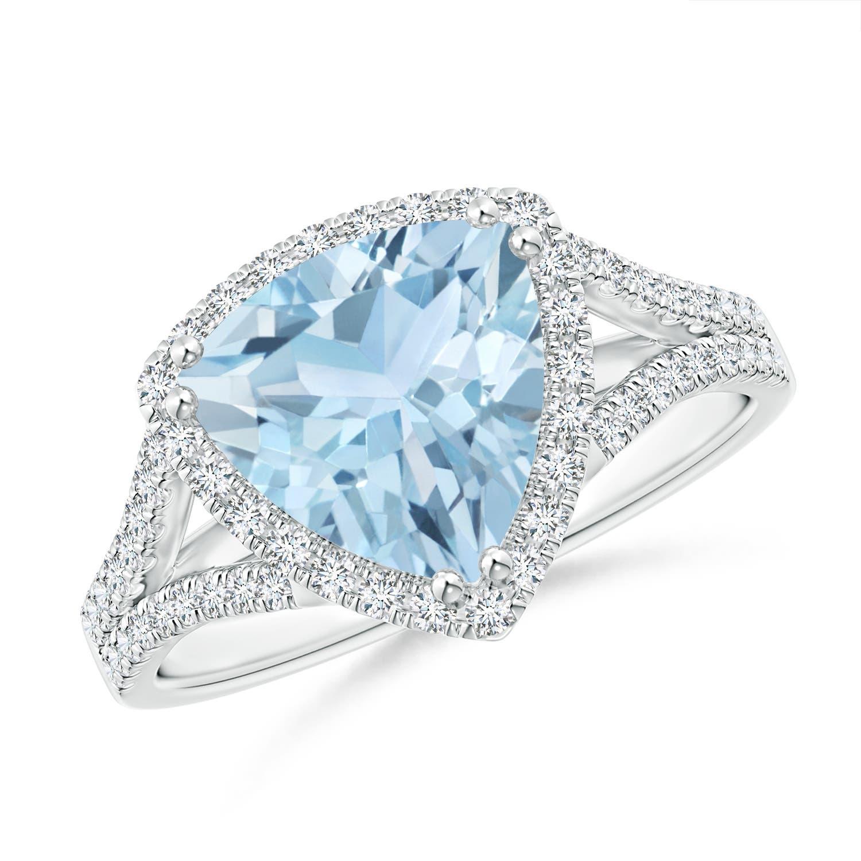 Angara Trillion Aquamarine and Round Diamond Split Shank Ring cFWECgpwT0