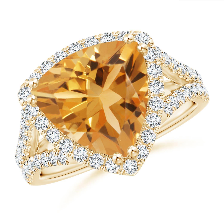 Angara Trillion Citrine and Round Diamond Split Shank Ring K0bXW